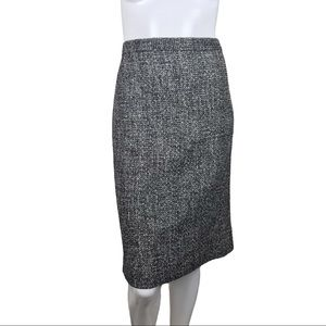 J. Crew Tweed Black White Plus Career Pencil Skirt